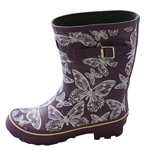 262abc89ed73 Purple with Butterflies Half Height Wellies - Wide Foot