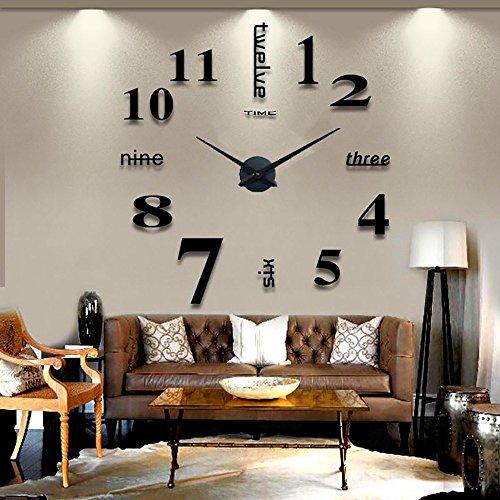 Guizen 3D Grandes Moderna DIY Reloj de Pared Extraíble Creativo de Vidrio Efecto de Espejo Para La decoración del Hogar y Oficina.(Negro)