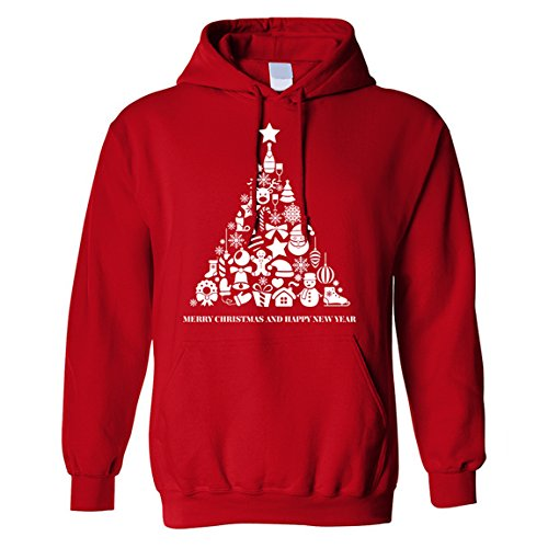 The T-Shirt Factory Herren-Weihnachtskapuzenpulli Classic Presents Christmas Tree (M) (Rot)