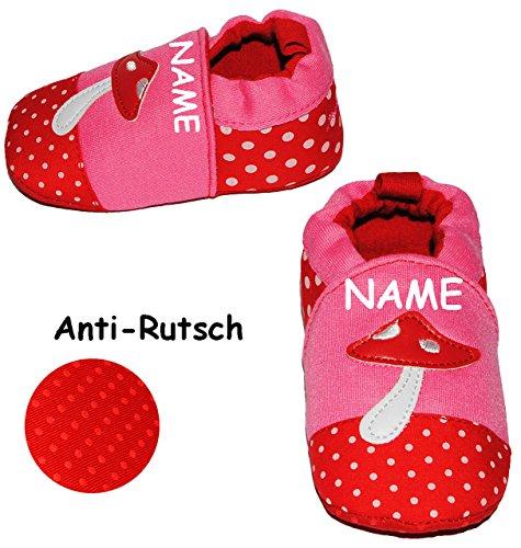 """Krabbelschuhe / Lauflernschuh - """" Pilz """" - incl. Name - Größe: 9 Monate bis 1 Jahr - Anti Rutsch Sohle - SUPER leicht anzuziehen - 100 % Baumwolle - Babyschuhe - Füßlinge - Baby - Kinder / Mädchen - H"""