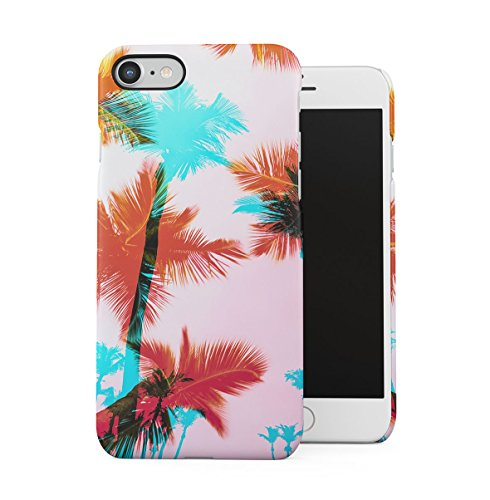 Watercolor Coconut Palm Trees Pattern Apple iPhone 7 PLUS Snap-On Hard Plastic Protective Shell Case Cover Custodia Pink Palms