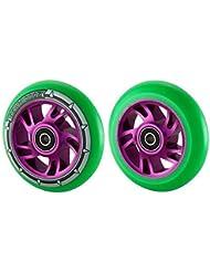 Par de Pro-Rueda para patinete (núcleo de aleación de 110mm Swirl para neón verde sintética, Purple Core, 110