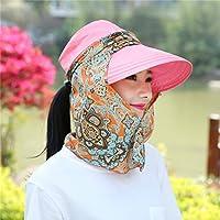 JYJSYM Sombrero de Verano Verano Hembra Protector Solar Anti - UV sombrilla Playa Plegable con Cremallera Casco, Verano, Turismo, Deportes al Aire Libre sombrilla Sombrero,Pink