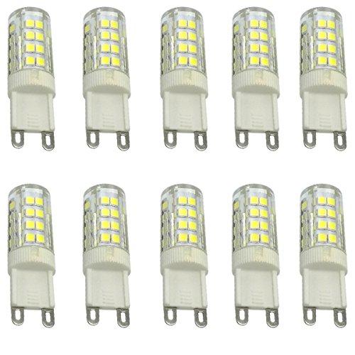 Aoxdi 10X G9 LED Leuchtmittel Lampe 5W, Kaltweiß, 51 SMD 2835 Energiesparlampe LED Licht G9, AC220-240V