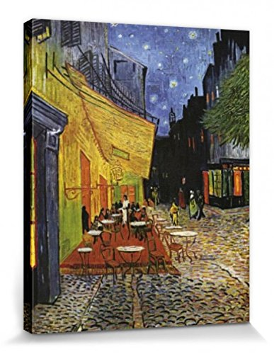1art1 56173 Vincent Van Gogh - Terrasse des Cafés An Der Place Du Forum In Arles Am Abend, 1888 Poster Leinwandbild Auf Keilrahmen 50 x 40 cm -