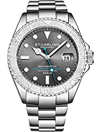 "Stuhrling Original Mens Swiss Automatic Stainless Steel Professional""DEPTHMASTER"" Dive Watch, 200 Meters Water Resistant, with Divers Safety Clasp and Screw Down Crown (Grey)"