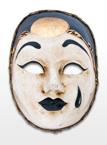 Venezianische Mini Maske Dekoration kleiner Pierrot in (Maske Pierrot Und Weiße Schwarze)
