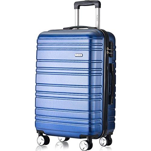 Flieks Hartschale Trolley Koffer Reisekoffer mit Zwillingsrollen mit Zahlenschloss Handgepäck M,35 Liter(Blau, Handgepäck)