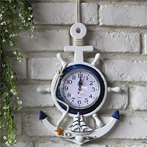 Persönliche Wanduhr der elektronischen Uhrdekorations-Navigationsuhr der mediterranen Art des blauen und weißen Steuerrudermanschers des Ankers kreative ( Farbe : A section , Größe : Einheitsgröße )