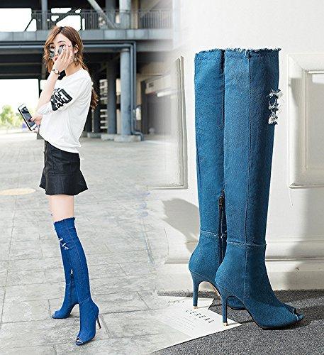 Minetom Donna Estate Autunno Denim Stivali Alti Coscia Jeans Strappati Sopra Ginocchio Peep-toe Boots Sandali Blu scuro