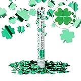 Relaxdays Party-Popper 40 cm, 6-8m Effekthöhe, Konfetti-Shooter, Konfetti-Kanone, Kleeblätter