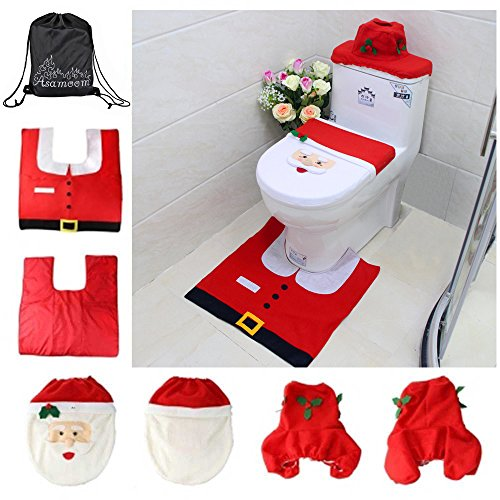 Asamoom 3pcs Conjunto Decoración de Navidad (Funda de asiento + alfombra + caja de tejido )