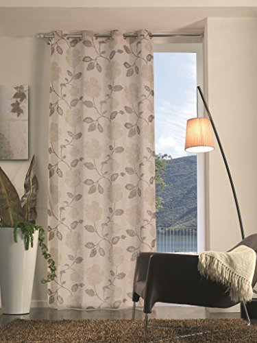 Home collection tfs135 tenda flora, poliestere, tortora, 140x280 cm