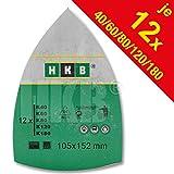 HKB ® 60 Stück Klett-Schleifblätter 105x152 mm Körnung je 12 x 40/60/80/120/180 für Multischleifer Bosch PSM 80 A, PSM 100 A, PSM 160 A, PSM 200 AGE, Prio, Ventaro, Skil Octo 7208 usw.