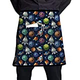 Waist Apron with Pockets Comic Space Planets and Spaceships Half Waist Waitress Server Apron for Restaurant Kitchen Garden 21' X 18' Where to Buy Aprons