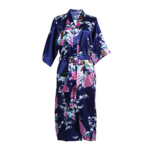 cbf5e3cad5 Elite99 Women s Sexy Robes Peacock and Blossoms Kimono Satin Nightwear Dress  Long (XXL