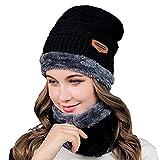LoiStu 2-in-1 Winter Mütze Hut Schal Set, warme Strickmütze mit Fleece Liner, Outdoor Sports Schädel Cap für Männer und Frauen (Schwarz)