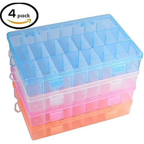Mision 24compartimentos plástico caja de almacenaje joyas pendientes caso contenedores de herramientas ajustable, 4unidades