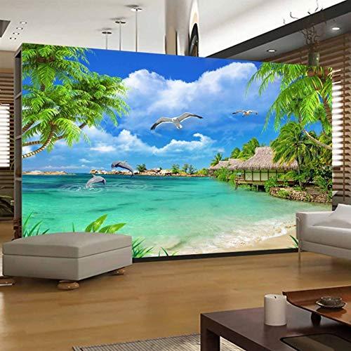 VVNASD 3D Dekorationen Aufkleber Wandbilder Tapete Wand Strand Seeansicht Kokosnuss Baum Landschafts Wohnzimmer Sofa Background Kunst Kinder Schlafzimmer (W) 300X(H) 210Cm