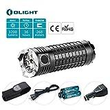 Olight® SRMini II Kit Lampe Torche Rechargeable LED Cree XM-L2 3200 Lumens Puissante Compacte Accessoires Inclus 1*Holster + 1*Chargeur de Voiture +*Câble USB +3 *Piles Rechargeables 18650 3400mAh
