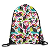Unisex Tucan Birds Colorful Print Drawstring Backpack Rucksack Shoulder Bags Gym Bag Sport Bag