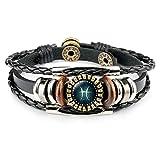 Dunbasi 12 Sternzeichen Lederarmband,Sternzeichen Armband Frauen Männer,Glas Cabochon Vintage Horoskop Armbänder Armschmuck Armkette (Fische)