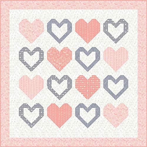 Stacy Iest HSU Weiches und süßes Flanell I Love You Quilt-Set Moda Fabrics KIT20601G -
