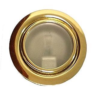 Möbeleinbauleuchte Farbe: Gold | 12Volt AC G4 20Watt inkl. Leuchtmittel (dimmbar) | Bohrloch: 55-60mm - Außen: 70mm - Einbautiefe: 15mm | - auch für LED G4 Lampen geeignet
