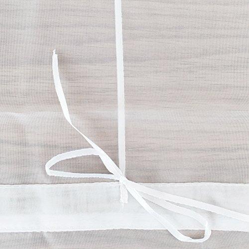 1er-Pack Raffrollo mit U-Haken Weiß Transparent Voile Ösenrollo Vorhang (BxH 120x130cm, Weiß) - 5