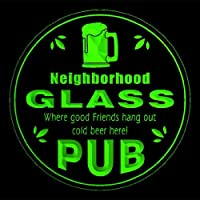 4x ccpg1644-g GLASS Neighborhood Pub Bar Beer 3D Drink Coasters