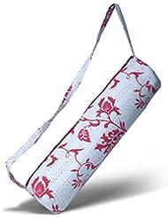 Bolsa de yoga »Kumari« de #DoYourYoga / Hecha a mano, 100 % algodón con bordado Kantha. MARCAS DE PRIMERA CALIDAD. Diseño: rojo-blanco
