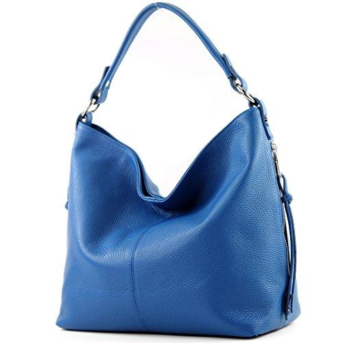modamoda de - ital. Ledertasche Shopper Damentasche Bürotasche Schultertasche Leder T160 Blau