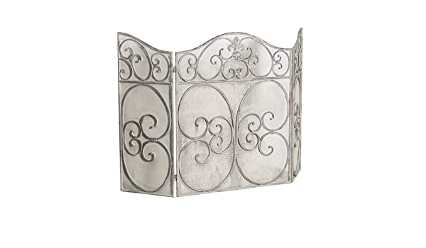 3 Fold Fire Place Surround Screen Ornate Metal Fire Guard with Decorative Fret Work