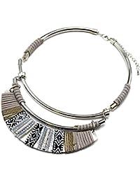 cc1363F–Collar de cuello peto Torque cinta étnica cadenas piedras y fieltro gris–Mode Fantasía