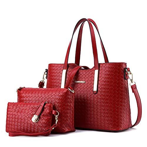 601e90730d Roful Donne Borsetta PU Intrecciato Borsa Hobo Messenger Bag Frizione  Satchel Borsa 3 Pezzi Set Regalo
