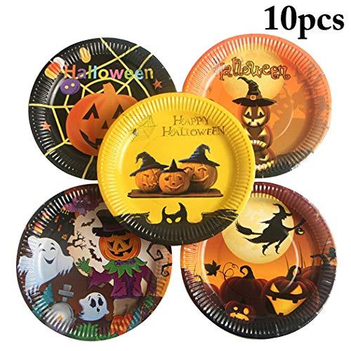 JUSTDOLIFE 10 StÜcke Halloween Platte Mode Muster Pappteller Einweg Platte für Party