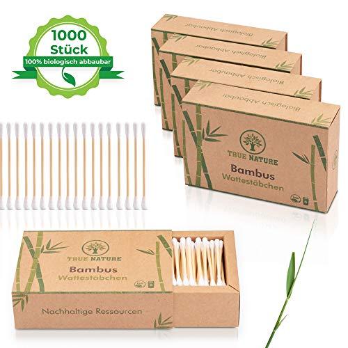 TRUE NATURE® [1000 Stück] Bambus Holz Wattestäbchen ohne Plastik 5 x 200 | 100% biologisch abbaubare Alternative | zero waste | Vegan & Nachhaltig - Make-up Wie Man