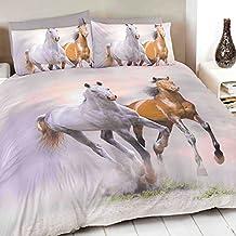 Just Contempo - Juego de funda nórdica y dos fundas de almohada, diseño de caballos, color blanco, gris y marrón, mezcla de algodón, crema, marrón y gris, funda de edredón doble King size