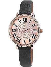 Excellanc llanc Mujer Reloj con piel imitations pulsera color gris oro rosa con cristales brillantes Moderno elegante mujer reloj de pulsera Números Romanos