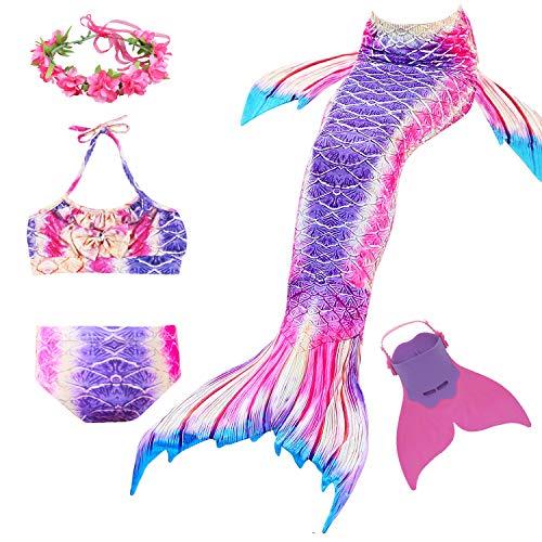 Romance Zone Cola de Sirena para Natación 5pcs Traje de Baño Mermaid Bikini Establece Disfraz de Sirena para Niña Princesa Cosplay Conjuntos con...
