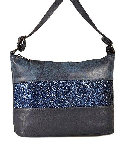 Gallantry -saoche en paillette-sac à bandoulière femme (Bleu)
