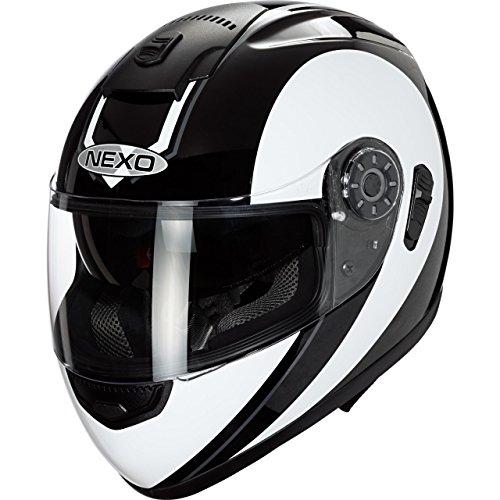 Nexo Motorradhelm, Vollvisierhelm, Integralhelm Travel, integrierte Sonnenblende, mehrfache Be- und Entlüftung, Ratschenverschluss, Wangenpolster komplett herausnehmbar und waschbar, weiß/Silber, XL