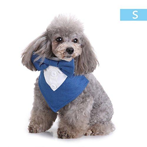 Alian Fliege Stil und Hund Hals Krawatte Designs Haustier Kleidung Hund Bandana Schals Zubehör für Haustier Katzen und Welpen, Small/Medium, Blau - Pet-kleidung Bandana