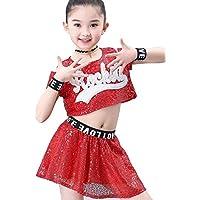 SMACO Niños Competición Cheerleaders Uniformes de Equipo Performance Costume Girl,Red,120CM