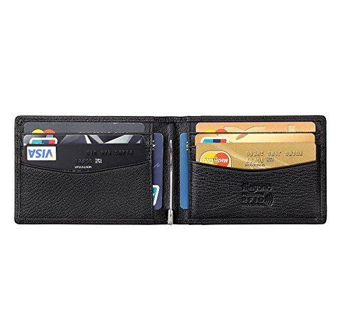 flintronic RFID-Blocker Schutz Geldbörse, Ausweis- und Kreditkartenetui Leder Brieftasche Echtem Leder, Herren Geldbörse Visitenkartenetui Leder (#1 Schwarz) (Id-geldbörse)