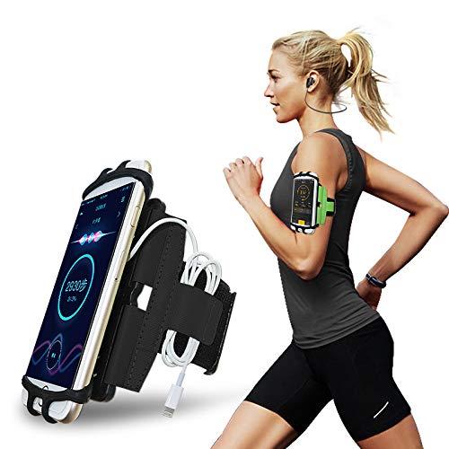 CoverKingz Universal Sportarmband 4,0-7,0 Zoll Smartphones Armtasche mit Schlüsselfach für [Samsung Galaxy S10/S9/S8/S7/A50/A40/A70/J/Note u.s.w] Laufarmband Schwarz