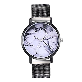 veyikdg Woman Luxury Fashion Plant Pattern Alloy Steel Strap Analog Quartz Round Watch Lady Business Casual Simple Design Elegance Edition Clock Wristwatch (Black)