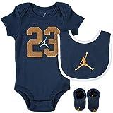 Nike AIR Jordan Baby 3-Piece Gift Set, Dark Blue/Gold, 0-6 Months