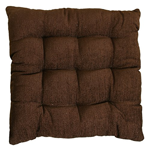 "Story@Home Square Corduroy Chair Pad - 14""x14"", Dark Brown"