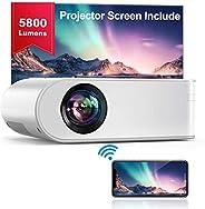 Proyector WiFi, YABER Mini Proyector Portátil 5800 Lúmenes 1080P Full HD[Pantalla de Proyector Incluida],Cine